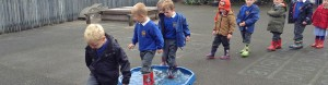 Children wearing wellies stepping into water